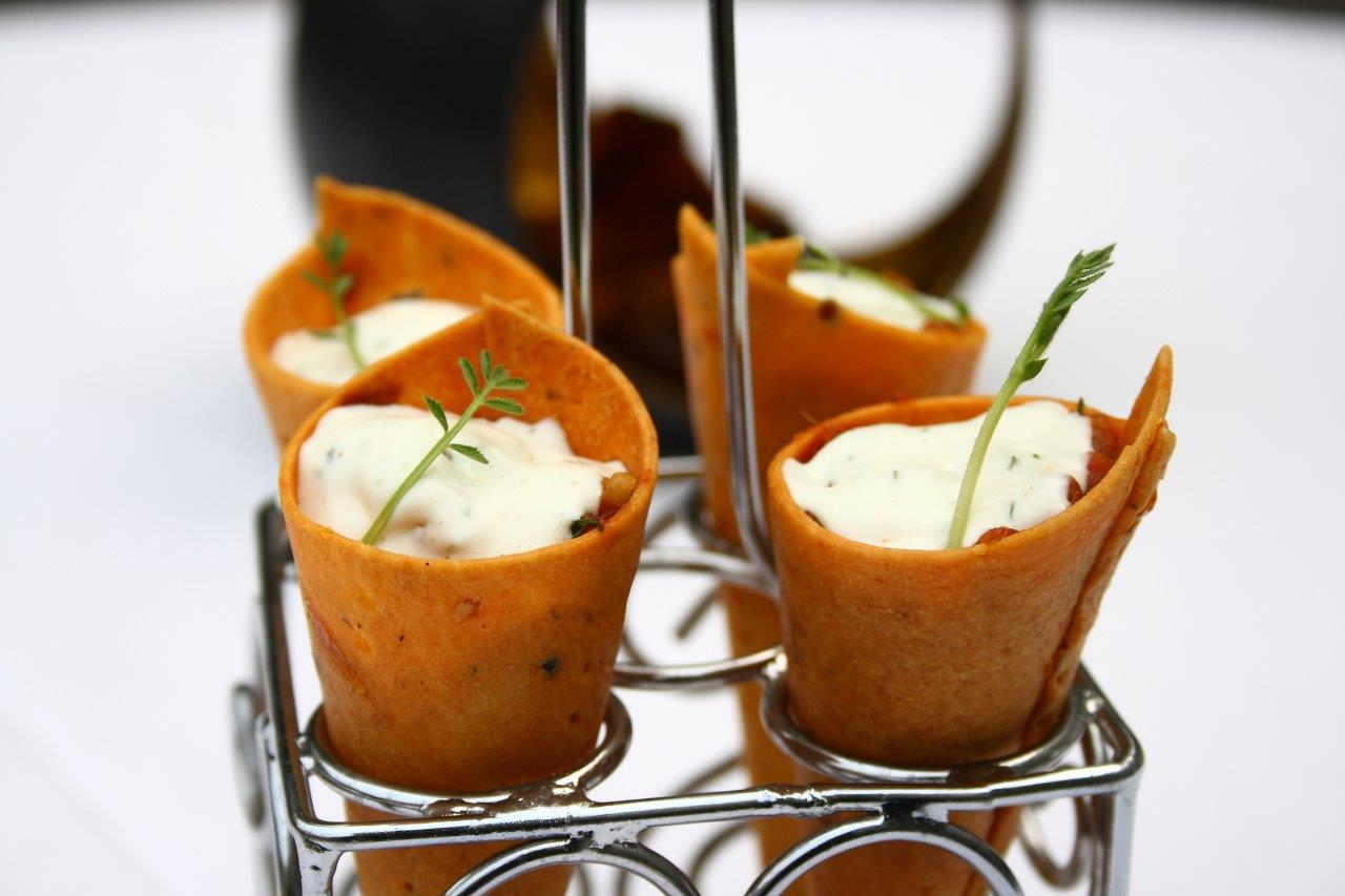 baigan bharta cornetto, goat cheese butter