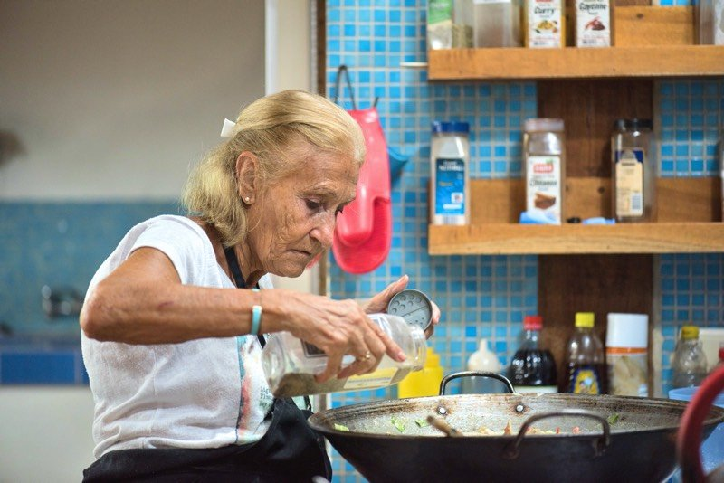 chef marie in the kitchen cooking real costa rican food