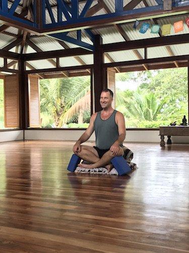 Meditation Seated cross legged with blocks