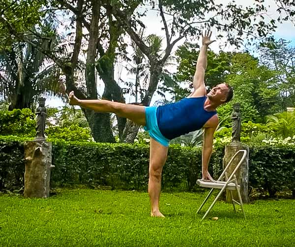 Half Moon Pose with Chair