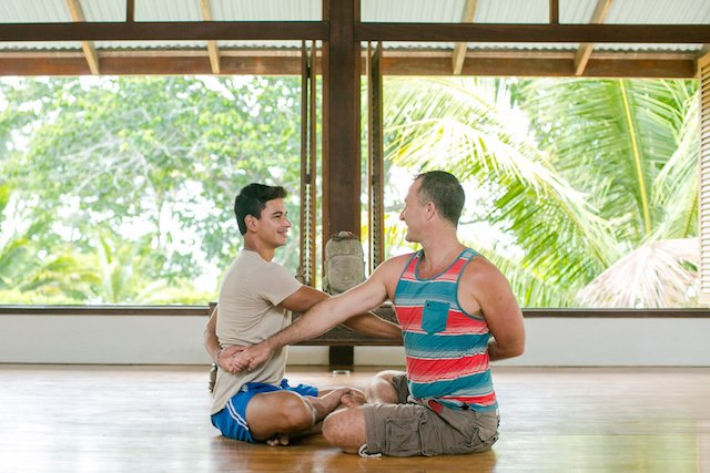 Yoga Poses for Two Partner Seated Twist