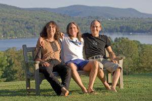 3 yogis on a bench David williams