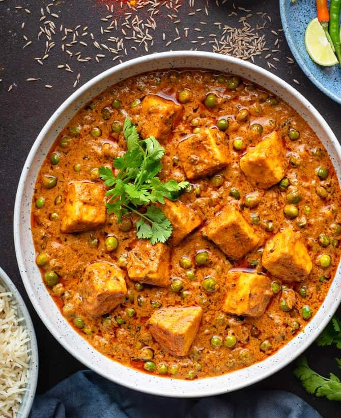 Matar Paneer (Peas and Cooked Cottage Cheese)