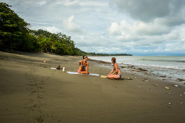Our yoga students practice on the beach during the one month immersion yoga teacher training program.