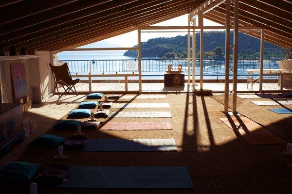 Yoga Studio Blue Osa Journeys Epidavros Greece sunrise yoga practice