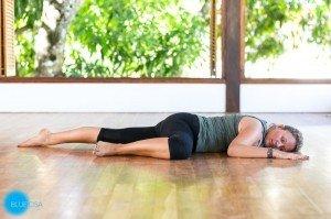 restorative yoga crocodile pose