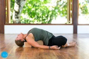 restorative yoga pose fish supta buddha konasana