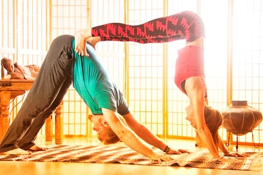 double downward dog for partner yoga | yoga poses for two