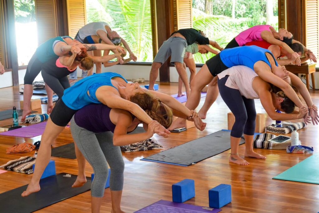 partner supported wheel yoga pose | partner yoga